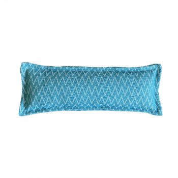 Outdoor knuffelkussen aqua blauw grafische print voorzijde